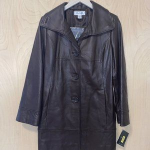 Preston York Brown Lamb Skin Leather Jacket Sz: XS